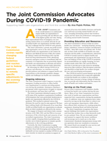 The Joint Commission Advocates During COVID-19 Pandemic