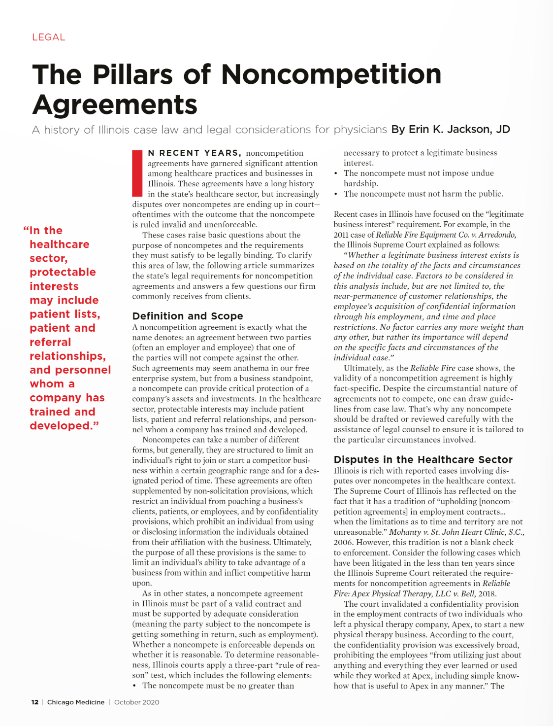 The Pillars of Noncompetition Agreements
